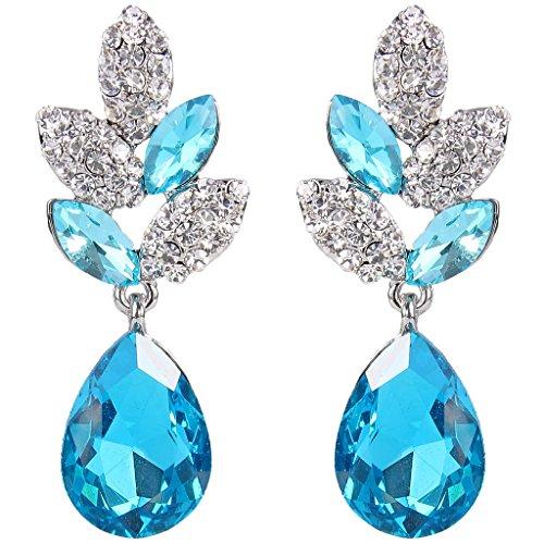 EVER FAITH Rhinestone Crystal Wedding Leaf Teardrop Pierced Dangle Earrings Light Blue Silver-Tone