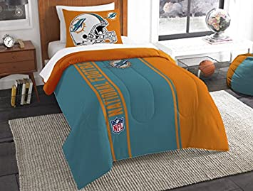 Miami Dolphins Bedding Set Sham NFL 2 Piece Twin Size 1 Comforter 1 Sham  Football Linen
