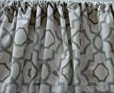 Cheap Valance Gray Beige Cream Geometric Lattice Pattern Custom Made Window Treatment Decorator Fabric