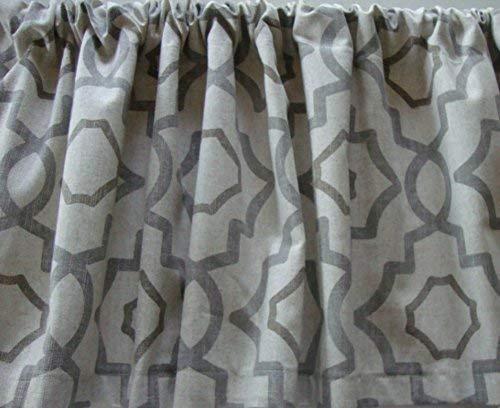 Valance Gray Beige Cream Geometric Lattice Pattern Custom Made Window Treatment Decorator Fabric