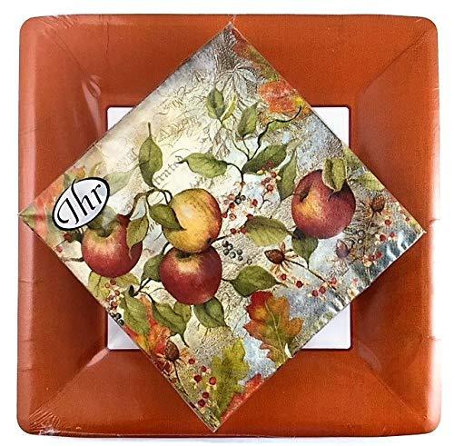 Ideal Home Range 20 Lunch Napkins Apple + 8 Terracotta Classic Linen Dinner Plates | Party Set