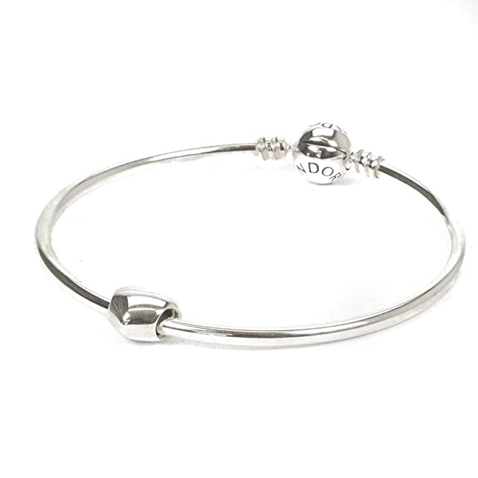 Pandora Moments Sterling Silver Charm Bangle 590713 With Heart Charm 790137 eOzMokrkf8