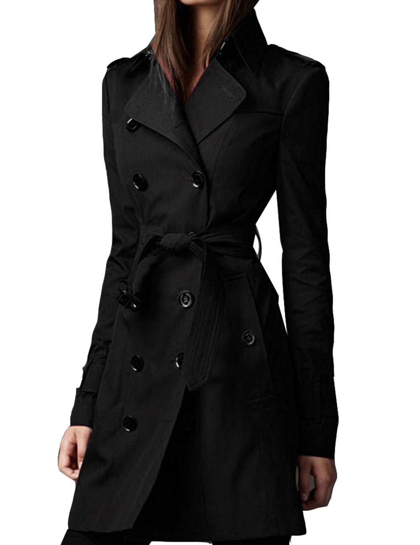 Weardear Women British Style Jacket Solid Color Double-Breasted Windbreaker Coat Trench Coats Black