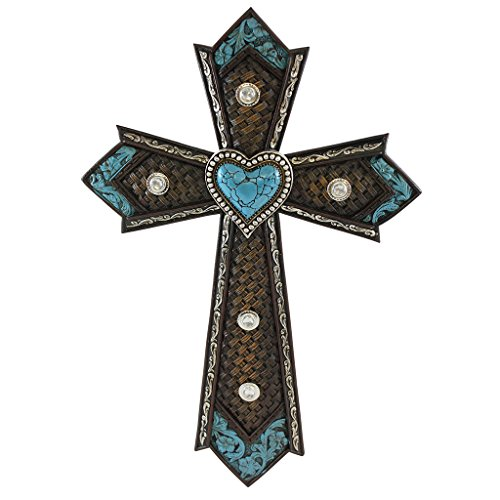 Pine Ridge Religious Christian Wall Cross Embossed Leather Turquoise Heart Western Celtic Style - Colorful Resin Wall Decor Confirmation Favors - Easter Crucifix Home Centerpiece
