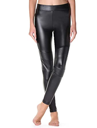 1c4983ab3d46f3 Calzedonia Womens Thermal leather-effect biker leggings: Amazon.co ...