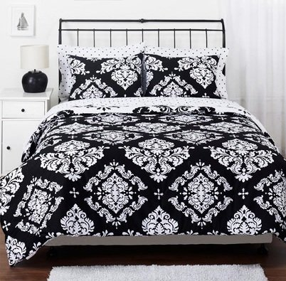 Black White Damask Reversible QUEEN Noir Comforter Set