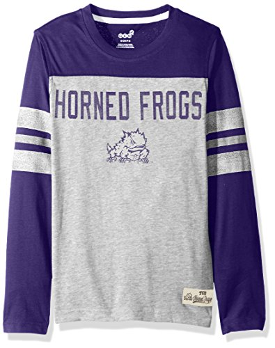 NCAA TCU Horned Frogs Kids & Youth Boys Legacy Tee Long Sleeve Crew, Heather Grey, Youth Small(8) -