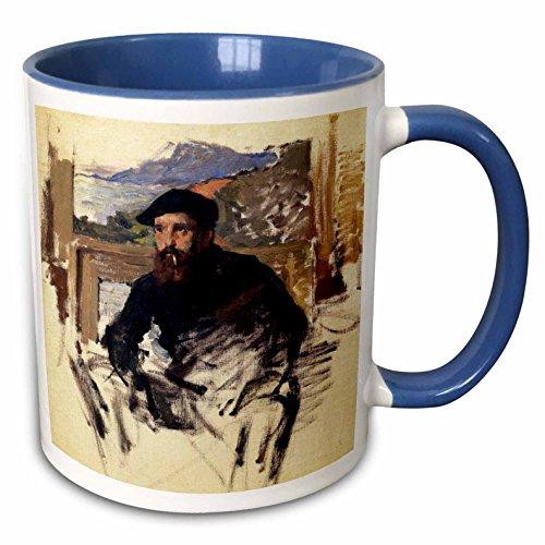 - 3dRose FabPeople - Claude Monet Portraits - Self Portrait in his Atelier, Claude Monet Painting Dated 1884, PD-US - 15oz Two-Tone Blue Mug (mug_179216_11)