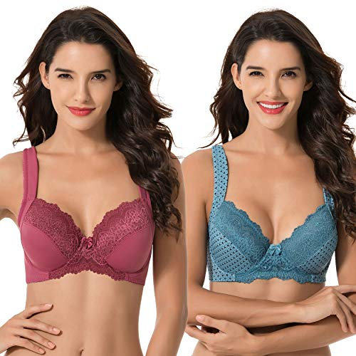 Curve Muse Plus Size Unlined Underwire Lace Bra with Padded Shoulder Straps-Bluestone Print,Violet- ()