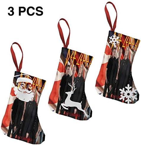 クリスマスの日の靴下 (ソックス3個)クリスマスデコレーションソックス Def Leppard クリスマス、ハロウィン 家庭用、ショッピングモール用、お祝いの雰囲気を加える 人気を高める、販売、プロモーション、年次式