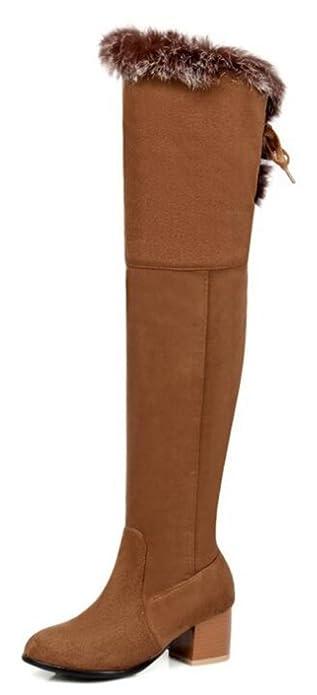 Easemax Damen Elegant Langschaft Nubuk Overknee Profilsohle Stiefel Schwarz 42 EU 3s5Ox