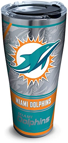 Tervis 1266661 Nfl Miami Dolphins Edge Stainless Steel Tumbler With Clear And Black Hammer Lid 30Oz  Silver