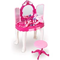 Kaptafel voor kinderen, Dressoir voor kinderen, Glamoureuze Princess kaptafel met kruk, roze make-up tafel speelgoed…