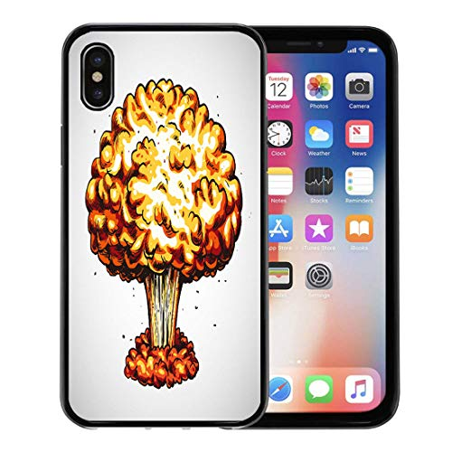 Semtomn Phone Case for Apple iPhone Xs case,Apocalypse Nuclear Explosion Atomic Bomb Mushroom Cloud Armageddon Army for iPhone X Case,Rubber Border Protective Case,Black