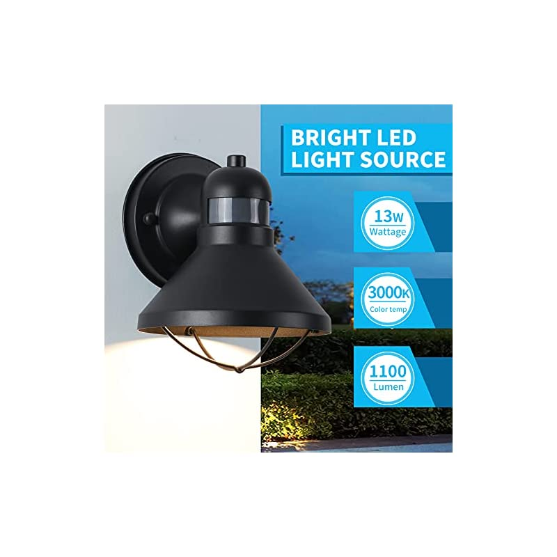 Motion Sensor Outdoor LED Porch Wall Light Fixtures Dusk to Dawn Exterior Barn Wall Lantern Black Farmhouse Sconce…