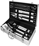Tank-Durable Stainless Steel BBQ Grill Accessories Set w/ 12 Large Grilling Utensil Tools – 2 Blade Spatula, Tongs, XL Skewers, Brush, Tactical Carving Knife – Premium Tool Deliver Superior Result
