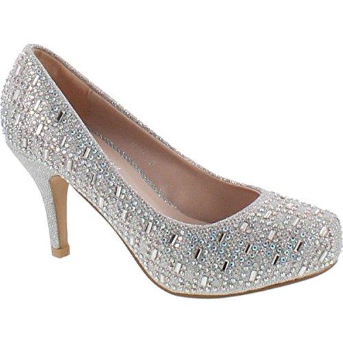 Bella Luna Myra Sparkle Crystal Gem Rhinestone Glitter Mesh Formal Evening Dress Pumps,Silver,8.5