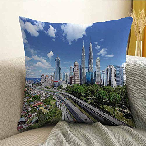 City Printed Custom Pillowcase Kuala Lumpur Skyline in a Clear Day Financial District Highway Skyscrapers Decorative Sofa Hug Pillowcase W20 x L20 Inch Pale Grey Blue -