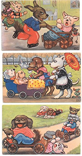 Three Margaret Boriss Artwork Postcards Dogs Playing in the Park~98534