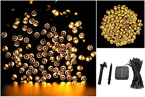 1 Pc Magnificent Modern 100x LED Solar Nightlight Xmas Party Yard Lamp String Fairy Color Yellow
