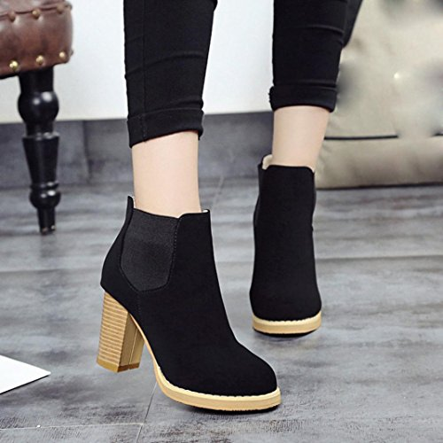 Fashion Heeled Ankle Black Leather High Female Boots Clode Boots Head Womens Boots Martin Round wvaCFEx