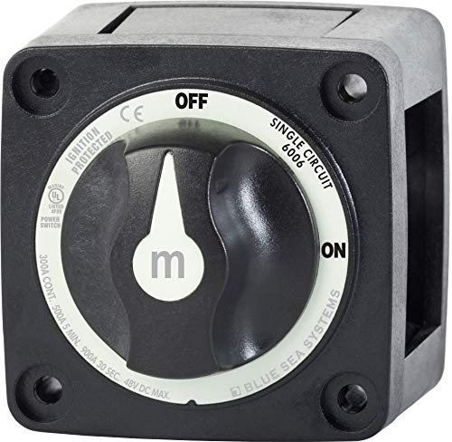 Blue Sea Systems m-Series Mini On-Off Battery Switch with Knob, Black