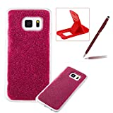 Soft Gel Case for Samsung Galaxy S7,Ultra Slim Flexible Sparkle Rubber Cover for Samsung Galaxy S7,Herzzer Luxury Stylish Red Bling Glitter TPU Bumper Silicone Protective Case for Samsung Galaxy S7 + 1 x Free Red Cellphone Kickstand + 1 x Free Claret-Red Stylus Pen