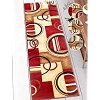 Deco Rings Red Geometric Modern Casual Rug 3x10 ( 2'7' x 9'6' Runner ) Easy to Clean Stain Fade Resistant Shed Free Abstract Contemporary Color Block Boxes Lines Soft Living Dining Room Rug