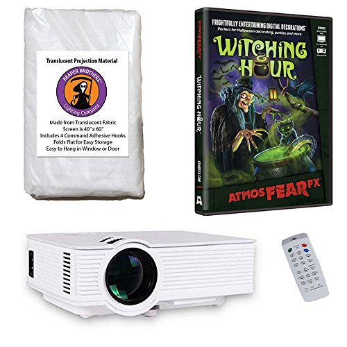 AtmosFearFx Witching Hour Halloween DVD Projector Kit with 1900 Lumen LED Video Projector, Reaper Brothers High Resolution Window Rear Projection Screen