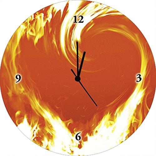 Artland Qualitätsuhren I Funk Wanduhr Designer Uhr Glas Funkuhr Größe: 35 Ø Herzen Orange G3IF