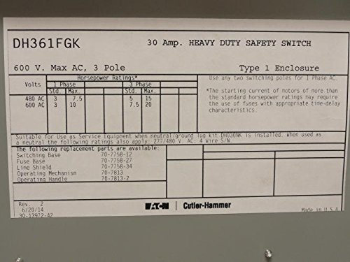 Cutler Hammer Dh361Fgk Safety Swith