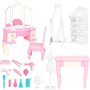 BARWA Dollhouse Furniture and Accessories Playset 18 Pcs Dressing Accessories for 11.5 inch Doll