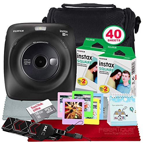 Fujifilm Instax Square SQ20 Hybrid Instant Camera (Black) - Deluxe Accessory Bundle with 40 Sheets of Instant Film + 16GB Micro sd Card + Case + Xpix Camera Strap and More. (USA Warrantty) ()