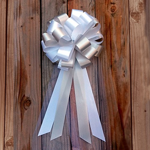 White and Silver Wedding Pew Pull Bows with Tulle Tails - 8