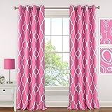 Elrene Home Fashions 026865901320 Juvenile Teen or Tween Blackout Room Darkening Grommet Window Curtain Drape Panel, 52″ x 84″, Hot Pink