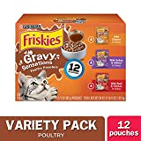 Purina Friskies Gravy Sensations Variety Packs Wet Cat Food, Poultry Favorites Variety Pack, 36 Ounces, Pack of 12