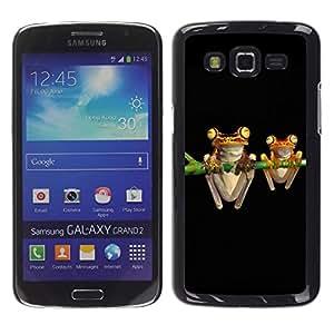 KOKO CASE / Samsung Galaxy Grand 2 SM-G7102 SM-G7105 / ranas arte noche dibujo negro verde de dibujos animados / Delgado Negro Plástico caso cubierta Shell Armor Funda Case Cover