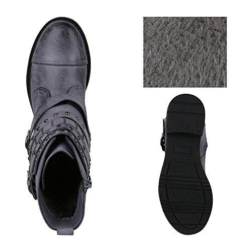Stiefelparadies Damen Schuhe Biker Boots Winter Plateau Booties Gefütterte Stiefel Nieten Flandell Blau Arriate