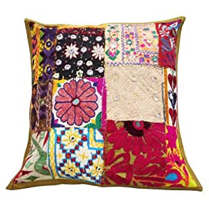 """Cojín cuadrado Tapa Multicolor Patchwork Kutch Decoración para el Hogar Funda de almohada indios Regalo Art 16 pulgadas """""""