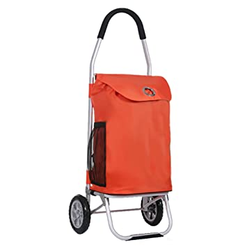 LXJYMX Maleta Trolley Bolso Plegable de la Carretilla del Carro del Equipaje de la Bolsa Plana del Carro del Carrito de Compras Plegable (Color : Orange): ...