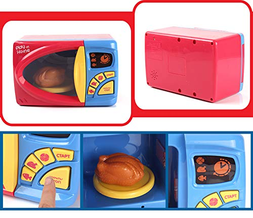 MeeYum Kids Pretend Play Electronic Toy Kitchen Microwave Oven with Realistic Lights and Sound, Includes Pretend Food by MeeYum (Image #3)