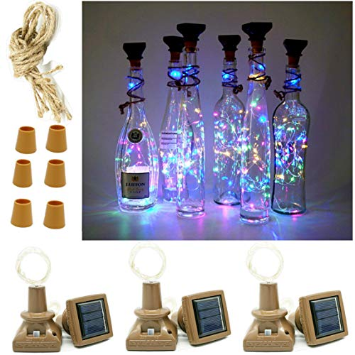 Solar Wine Bottle Cork Lights, 6 Pack 20LED Silver Copper Wire Mini Fairy String Starry Lights with Square Panel for DIY Party Christmas Halloween Wedding Outdoor Indoor Decoration (Multi) -