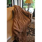 Tache Home Fashion Dada Bedding 63 X 87-Inch Luxury Solid Brown Wooded River Faux Fur Throw Blanket