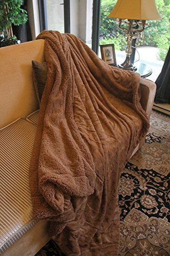 DaDa Faux Fur Throw Blanket – Deep Chocolate-Brown Soft Pile Backed by Sherpa Fleece – the Humane Way to Bring the Beauty of Fur into Your Room – No Animals (High Pile Throw Blanket)