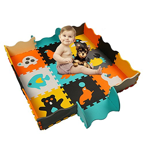 HAN-MM Kids Foam Mat Non Toxic Crawl Mat Baby Tiles Play Puzzle Mat with Softer Thicker EVA Foam Mat for Kids Toddlers Babies Playrooms/Nursery Tummy Time and Crawling Style 5