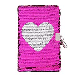 Pink With Silver Heart Reversible Sequin Journal