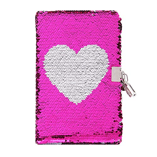 Sequin Notebook - PojoTech Mermaid Reversible Sequin Journal - Magic Travel Journal Notebook Gift for Adults and Kids (Pink Heart with Lock)