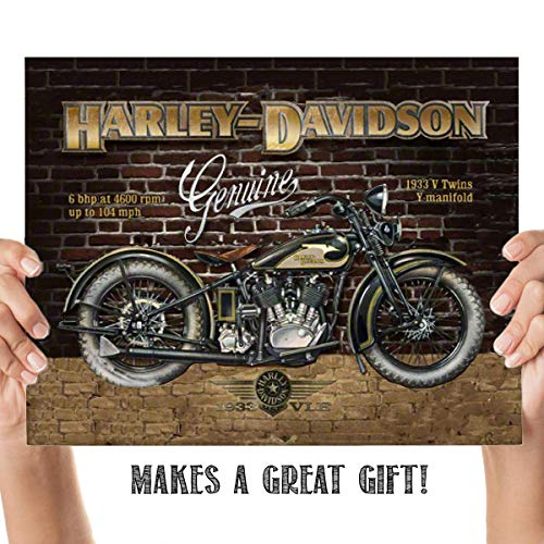 Harley Davidson- 1933 V-Twins Motorcycle Vintage Print- 8 x10 Wall Decor- Ready To Frame. Harley Davidson Gifts- Decorations. Home Decor- Office Decor. Perfect for Man Cave- Game Room- Bar- -