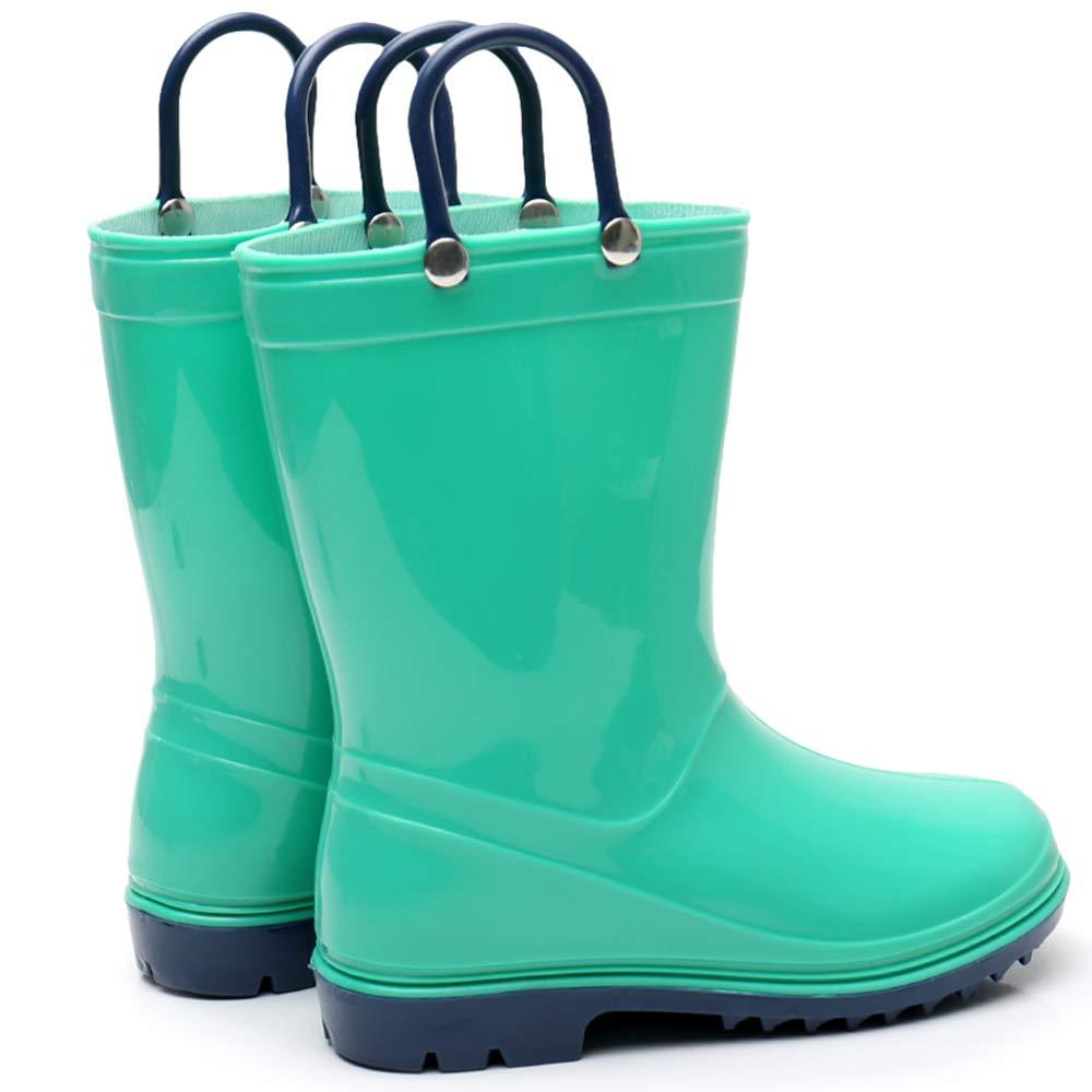 Girls Solid Lightweight Rain Boots with Handle Kids Cute Waterproof Shoes(Grey/Black/Blue/Green) (Little Kid 3M, Green) by TRIPLE DEER (Image #7)