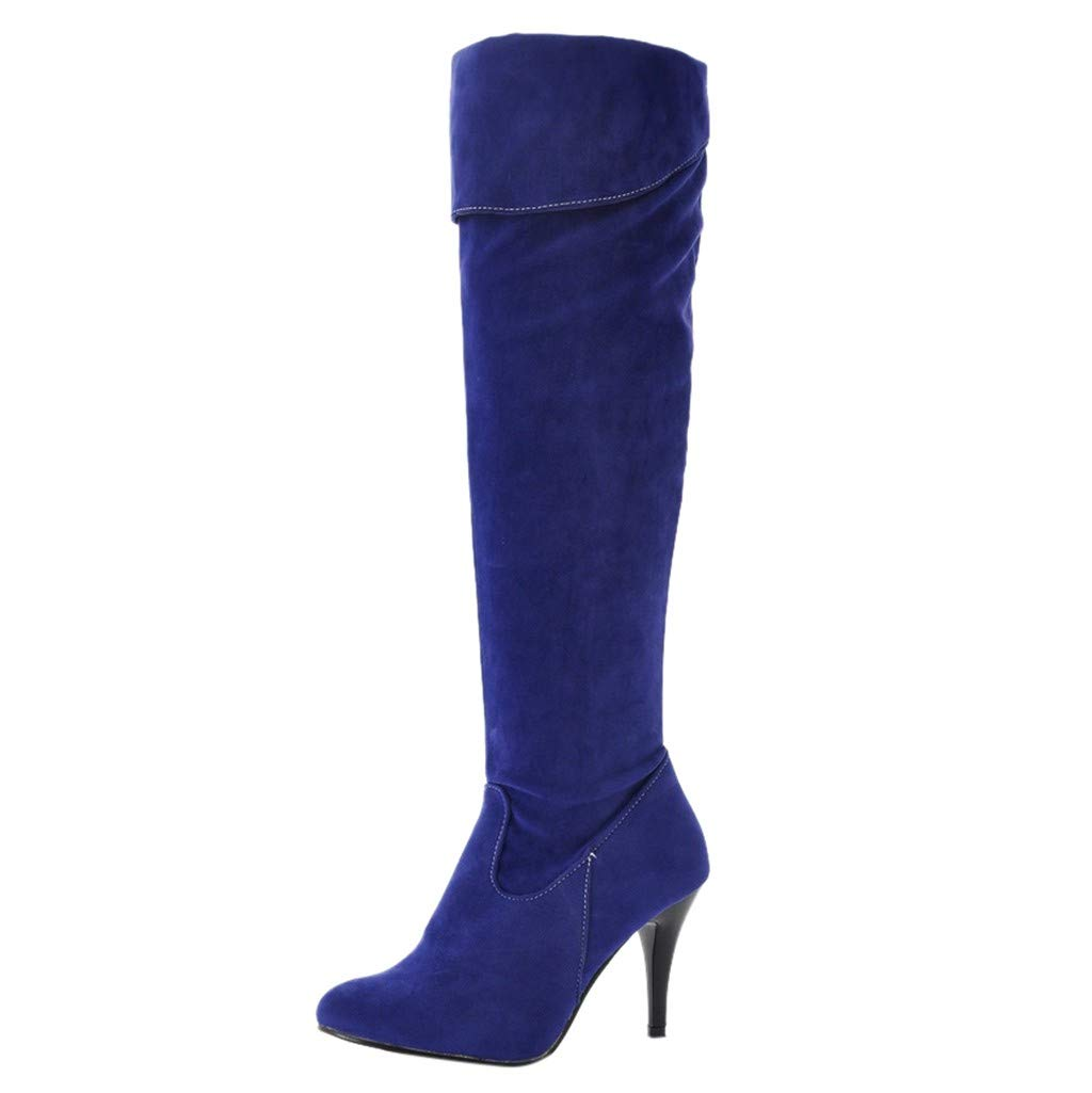 Women's Thigh High Fashion Over The Knee Block Heel Boots Blue by POPNINGKS